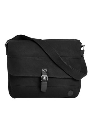 BLACK CANVAS MESSENGER BAG - Across body bag - black