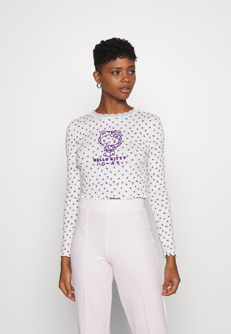 NEW girl ORDER - POINTELLE - Long sleeved top - purple/cream
