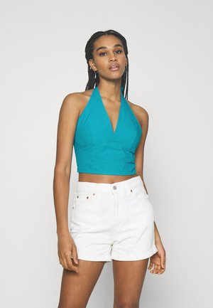 CROPPED HALTERNECK - Topper - blue