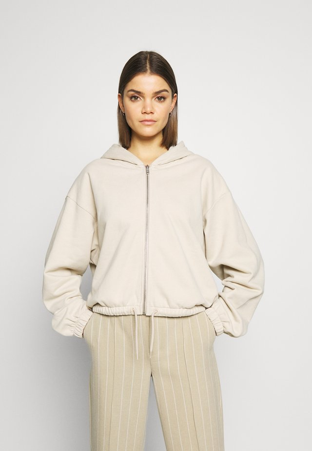 MIMI ZIP HODDIE - Zip-up hoodie - light beige