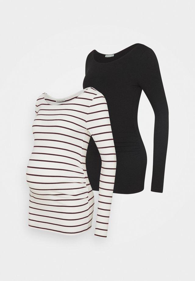 2 PACK - Long sleeved top - black/bordeaux