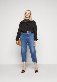 Glamorous Curve - BROIDERY TRIM BLOUSE WITH LONG SLEEVES AND HIGH-NECK  - Blouse - black - 1