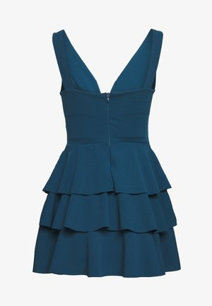 PETITE V NECK DOUBLE DRILL DRESS - Korte jurk - teal blue