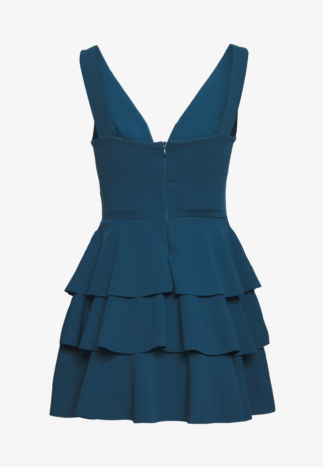 PETITE V NECK DOUBLE DRILL DRESS - Day dress - teal blue
