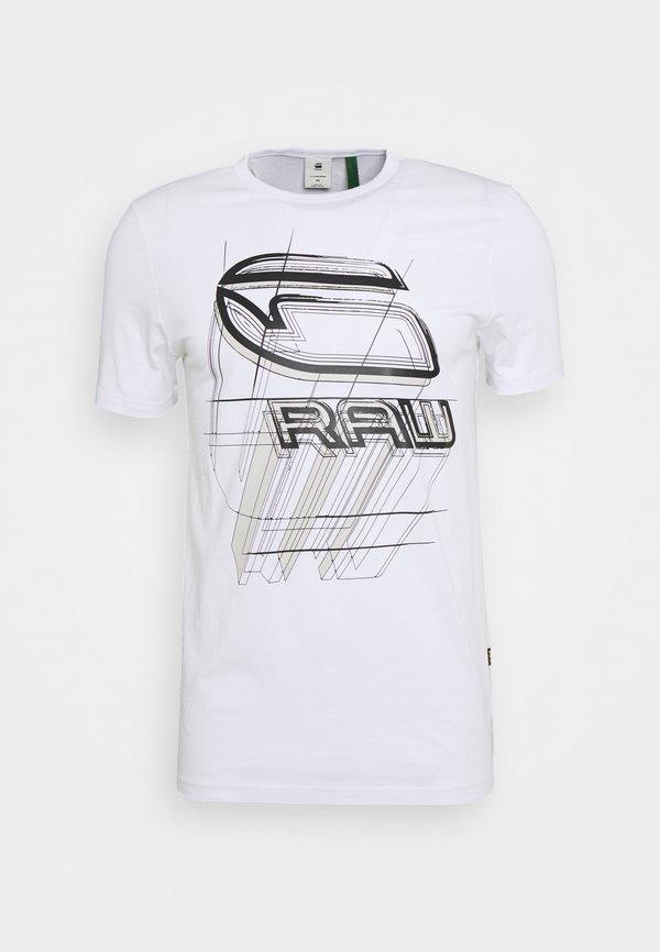 G-Star PERSPECTIVE LOGO GR SLIM - T-shirt z nadrukiem - white/biały Odzież Męska GNWQ
