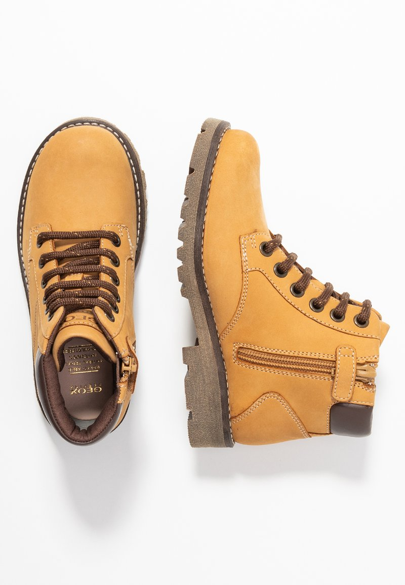 Geox - AXEL BOY - Lace-up ankle boots - dark yellow