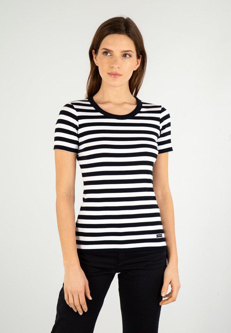 Armor lux - HILLION MARINIÈRE - Print T-shirt - rich navy/blanc