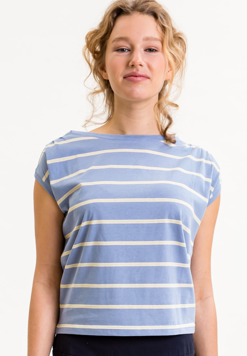 UVR Berlin - TIFFANYINA - Print T-shirt - hellblau mit pastellfarbenen streifen