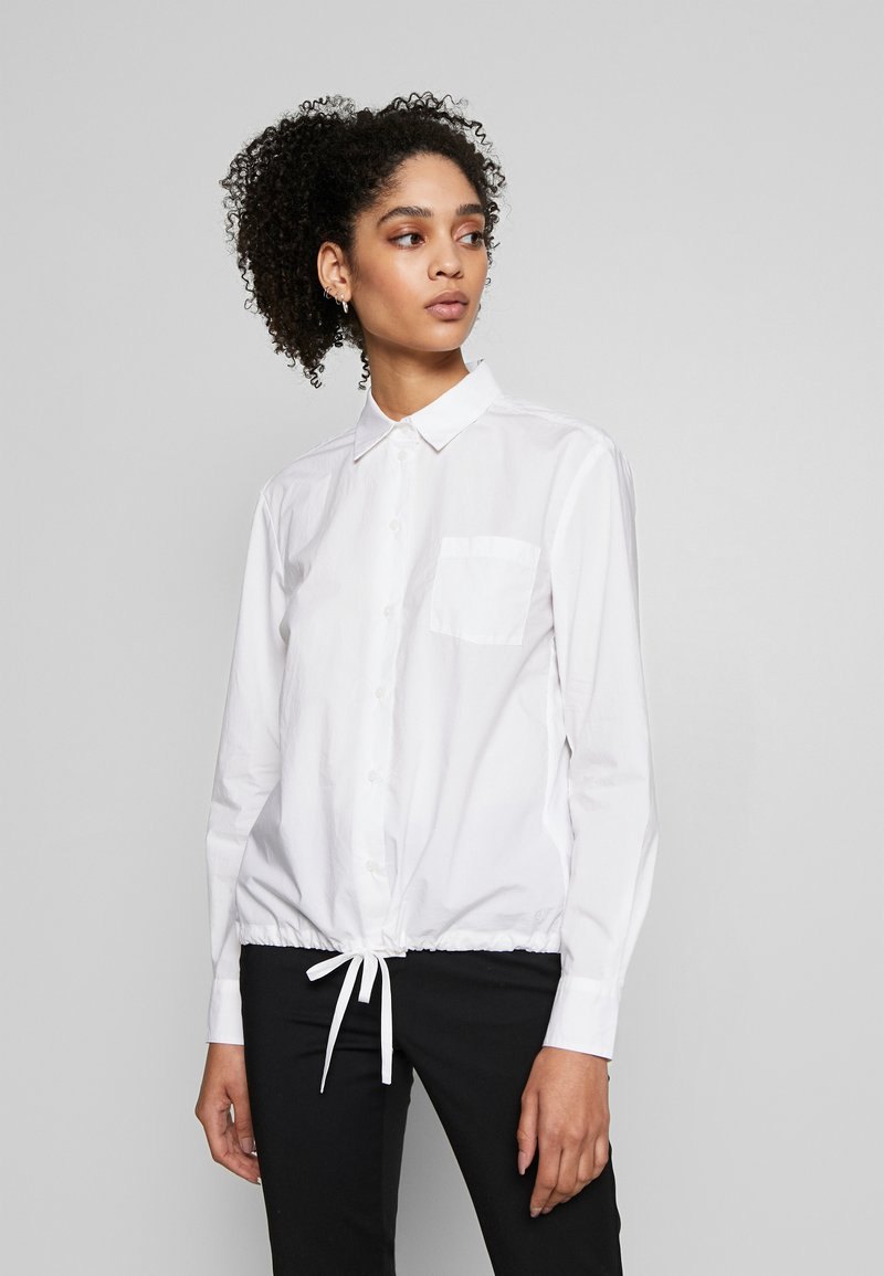 Marc O'Polo - BLOUSE LONG SLEEVEED TIE DETAIL AT HEM POCKET - Button-down blouse - white