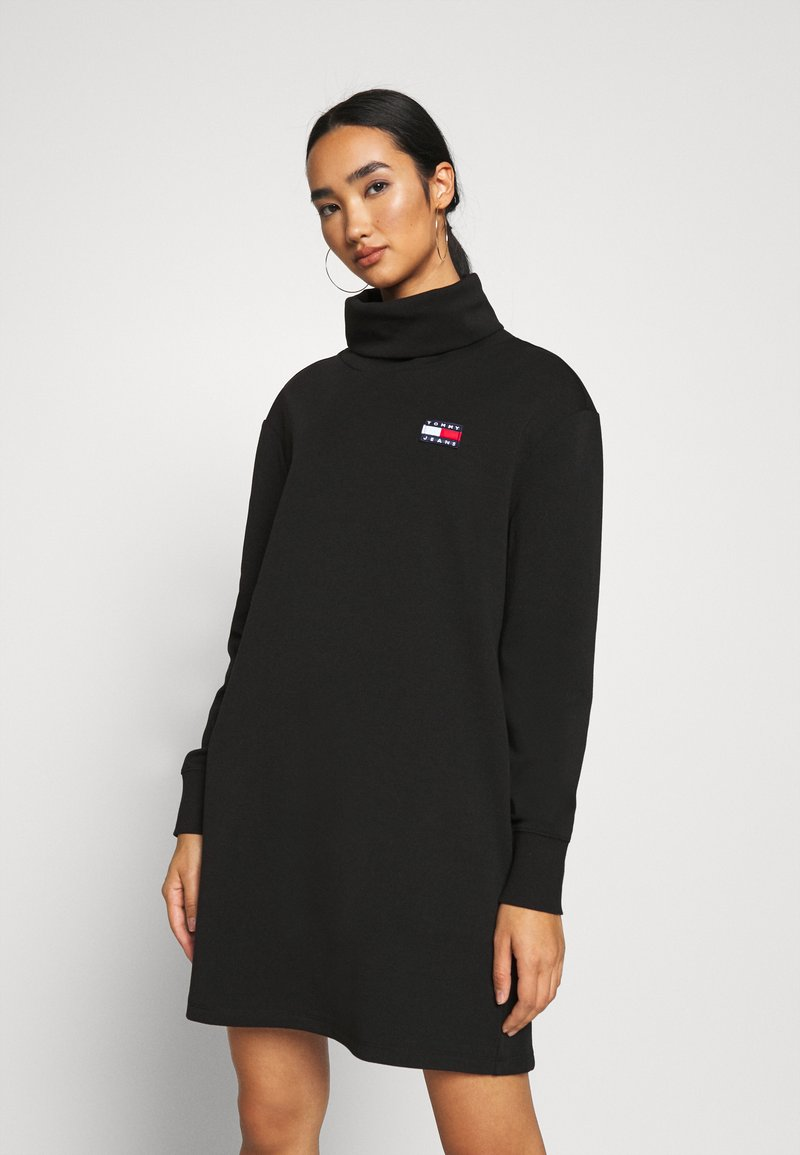 Tommy Jeans - BADGE MOCK NECK DRESS - Day dress - black