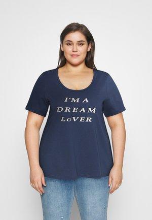 BOXY TEE WITH FOLD UP - Print T-shirt - mood indigo