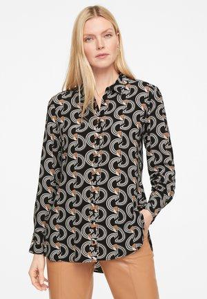 Button-down blouse - black graphic waves