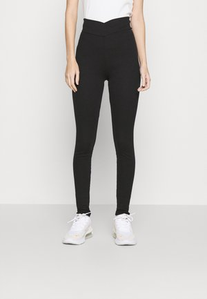 WRAP WAIST - Leggings - Trousers - black
