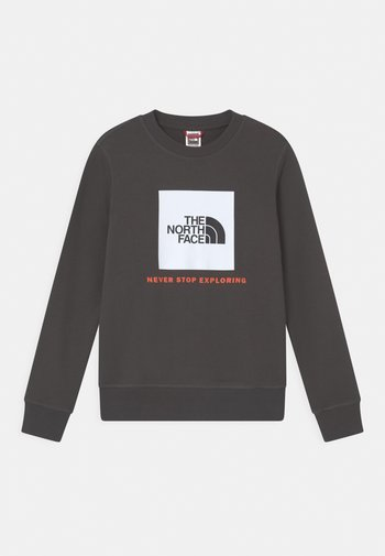 BOX CREW UNISEX - Sweatshirt - asphalt grey/red orange