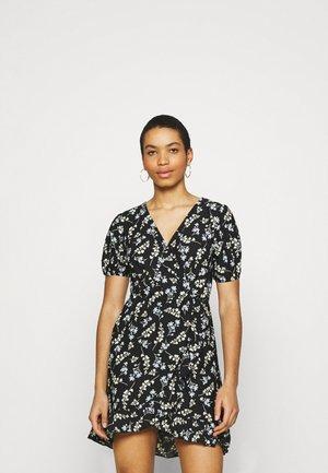 DITSY FOCHETTE WRAP FRONT MINI DRESS - Jerseykjole - black