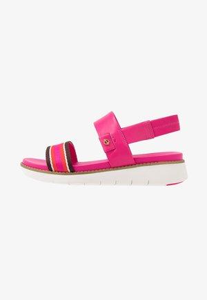 GLOBAL DOUBLE BAND  - Platform sandals - fuschia/purple/multicolor