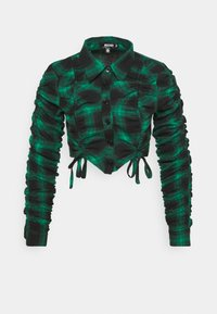 Missguided - RUCHED DETAIL CHECK SHIRT - Blouse - green - 0