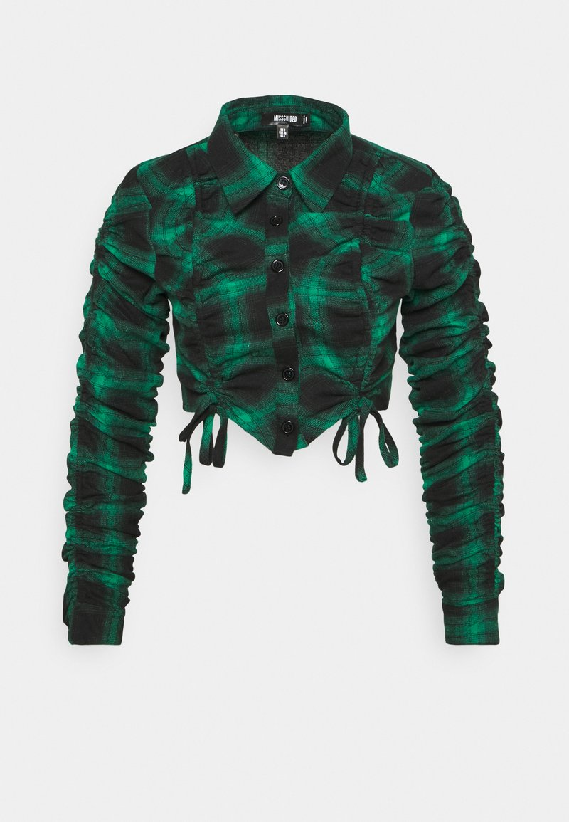 Missguided - RUCHED DETAIL CHECK SHIRT - Blouse - green