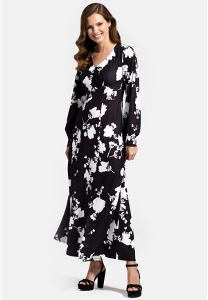 WITH LONG SLEEVES - Maxi dress - white flower on black