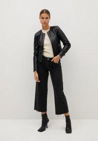 Mango - FELIPAR - Leather jacket - schwarz - 1