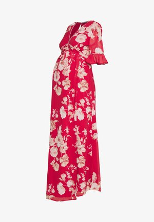 OPEN BACK SPLIT FRONT DRESS - Maxi šaty - red