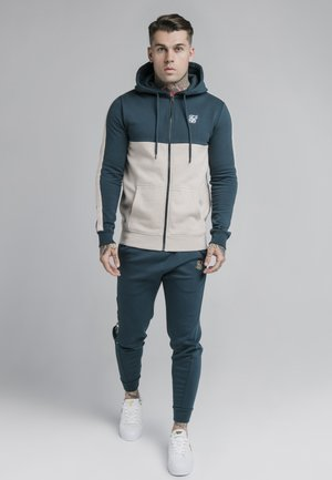 CUT AND SEW ZIPTHROUGH HOODIE - veste en sweat zippée - ocean green/cream