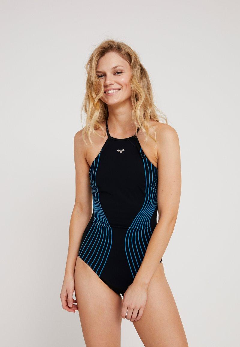 Arena - AURA LIGHT CROSS ONE PIECE SHAPEWEAR - Swimsuit - black/turquoise