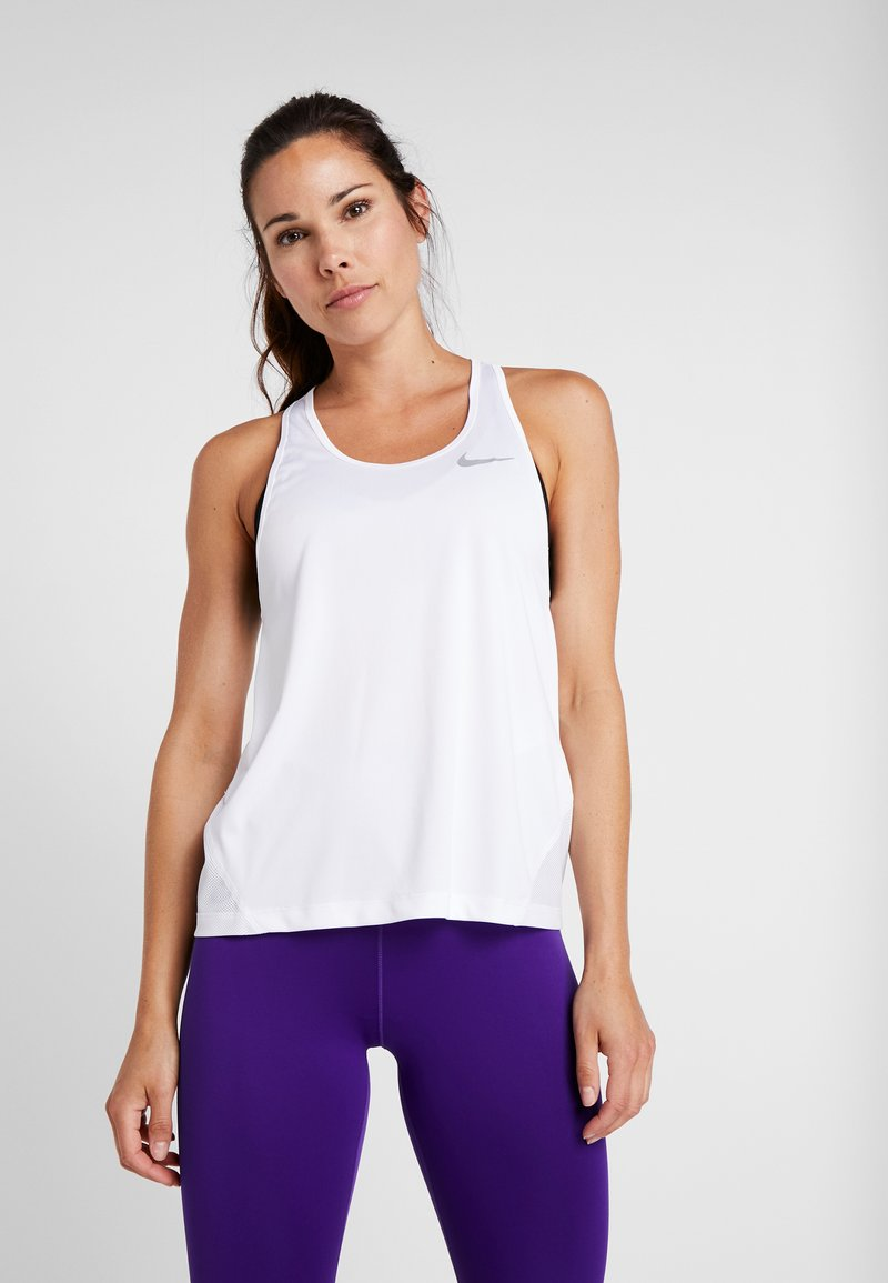 Nike Performance - MILER TANK RACER - Sports shirt - white/reflective silver