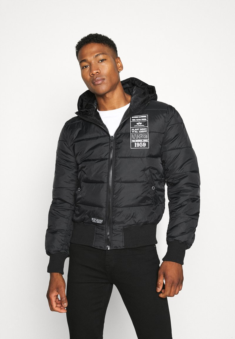 Alpha Industries - HOODED PUFFER - Chaqueta de entretiempo - black