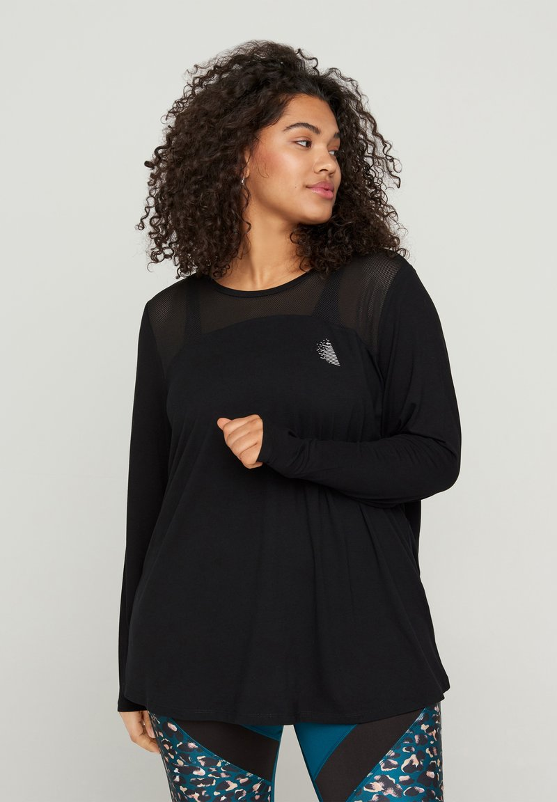 Active by Zizzi - MIT PRINTDETAILS - Long sleeved top - black