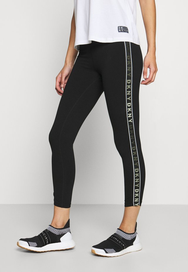 HIGH WAIST 7/8 LEGGING LOGO WEBBED TAPE - Legging - black/olive
