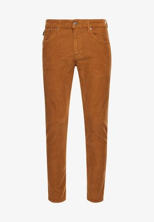 FIVE POCKET CORD  - Trousers - mustard/navy emb