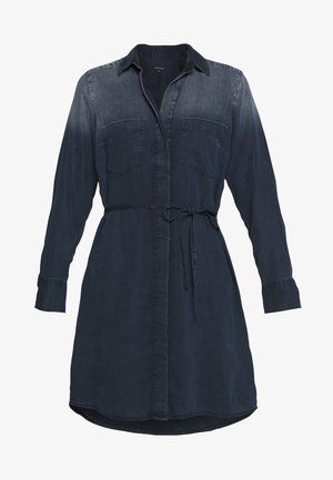 DRESS OPEN KENT COLLAR BELT DETAIL - Denim dress - night sky