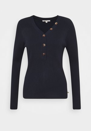 HENLEY WITH BUTTONS - Sweter - real navy blue