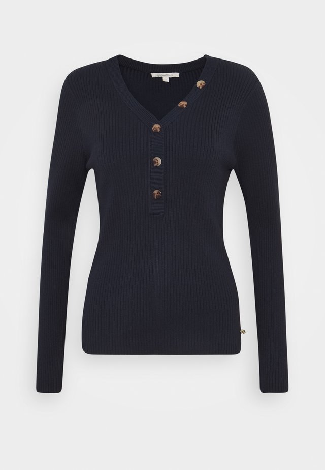 HENLEY WITH BUTTONS - Neule - real navy blue