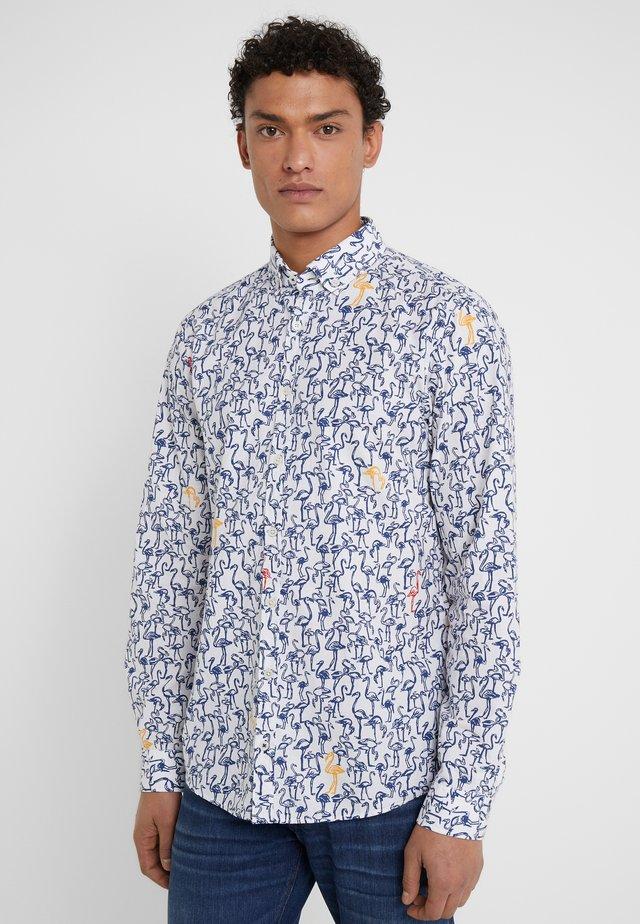 Shirt - blue white print