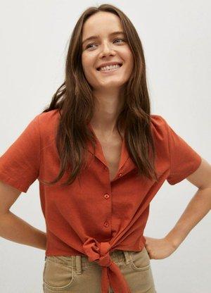 NUDO-H - Button-down blouse - arancione tostato