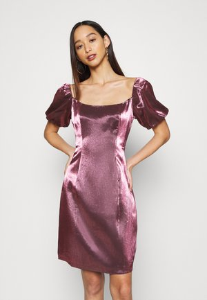 CORSET MINI DRESS WITH PUFF SHORT SLEEVES AND CURVED NECKLINE - Cocktail dress / Party dress - pink metallic