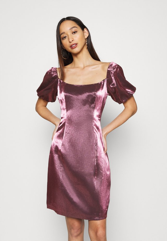 CORSET MINI DRESS WITH PUFF SHORT SLEEVES AND CURVED NECKLINE - Juhlamekko - pink metallic