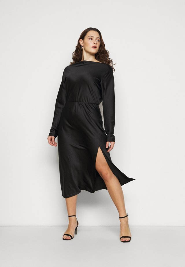 MIDAXI DRESS WITH LONG SLEEVES COWL NECK FRONT AND BACK TIE - Juhlamekko - black