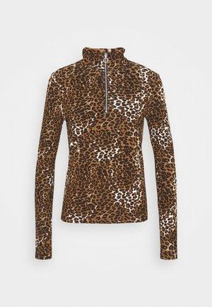 TURTLENECK ZIP UP - Long sleeved top - black/beige