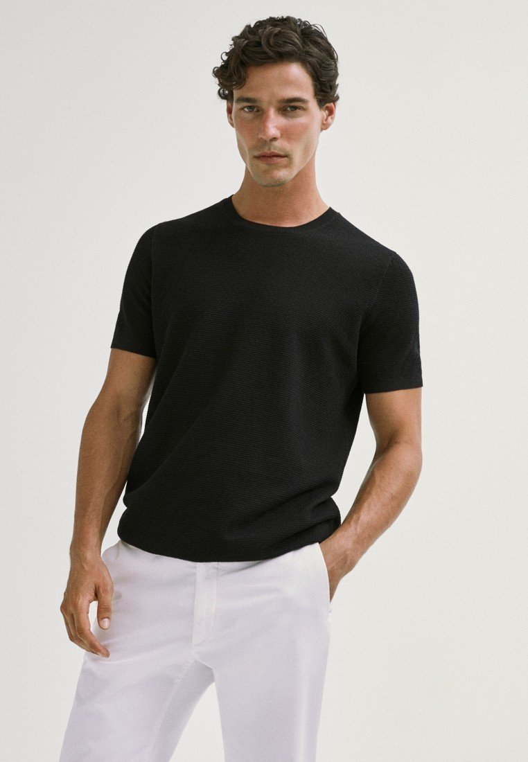 Massimo Dutti - Basic T-shirt - black