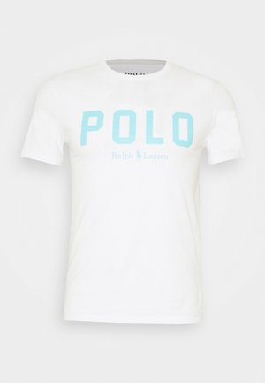 Print T-shirt - white/turquoise