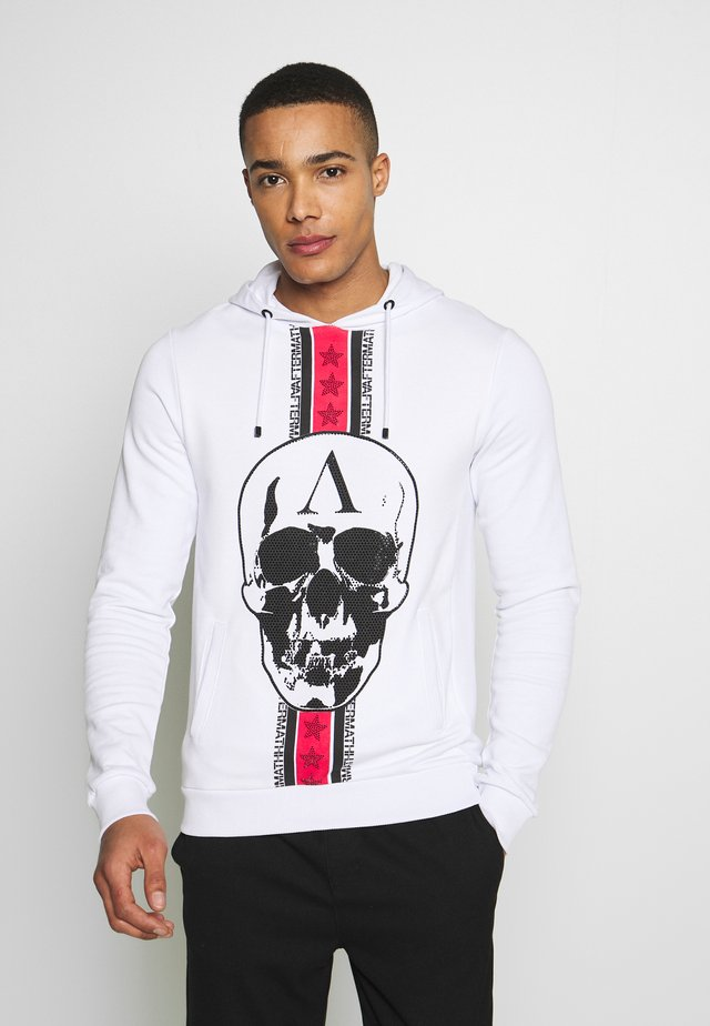 STUDDED HOODIE WITH SKULL - Hoodie - white