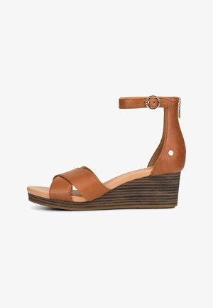 EUGENIA - Wedge sandals - mittelbraun