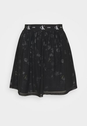 DOUBLE LAYER SKIRT - Falda acampanada - black