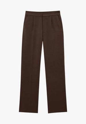 STRAIGHT-FIT MIT BUNDFALTEN - Trousers - mottled light brown