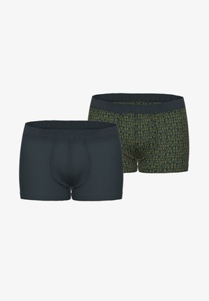 Pants - blue uni/green aop
