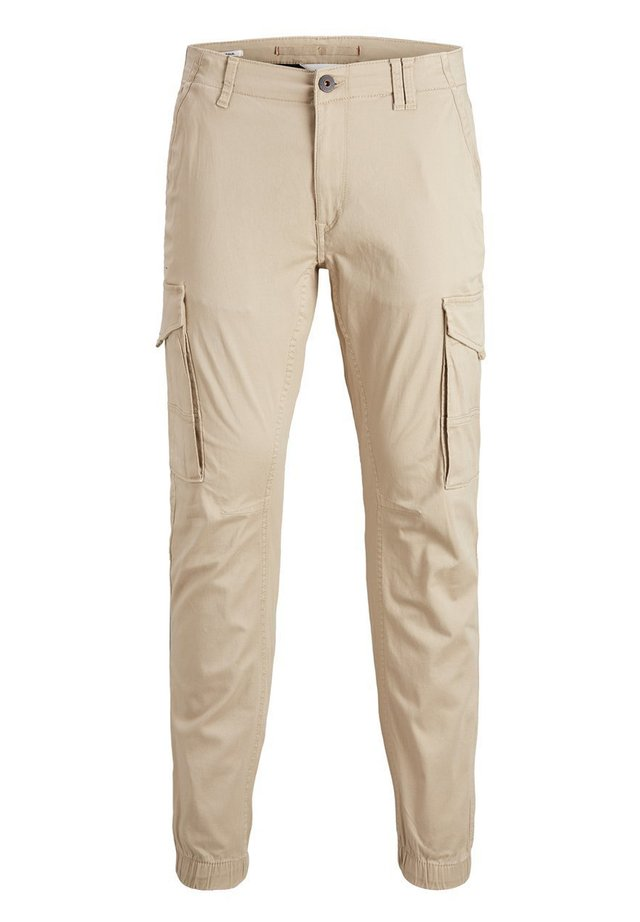 JACK & JONES JUNIOR CARGOHOSE JUNGS TAPERED FIT - Pantalon cargo - white pepper
