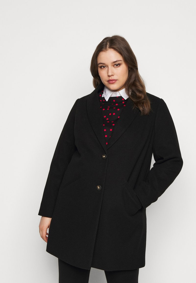 Dorothy Perkins Curve - MINIMAL SHAWL COLLAR COAT - Manteau classique - black